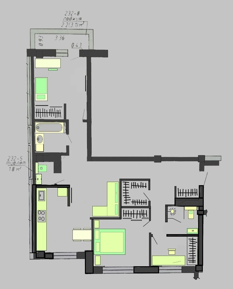 перепланировка 3-комнатной квартиры Белинского